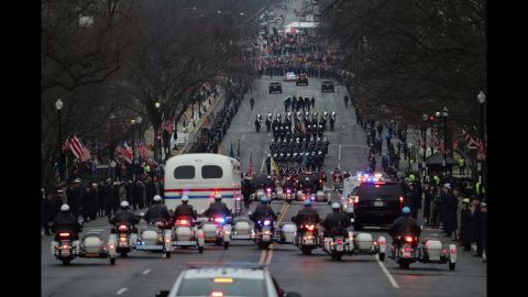 Police escorts participate in the Presidential Inaugural Parade procession on January 20, in Washington.