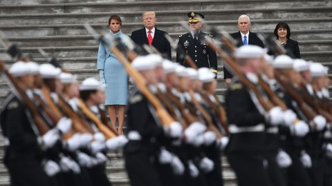 From left, first lady Melania Trump, President Donald Trump, US Army Maj. Gen. Bradley Becker, Vice President Mike Pence and Karen Pence review the troops as part of the inaugural ceremonies.