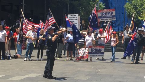 A small group holds a pro-Trump rally Saturday in Australia's largest city.