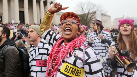 A woman chants at the Women's March on Washington.