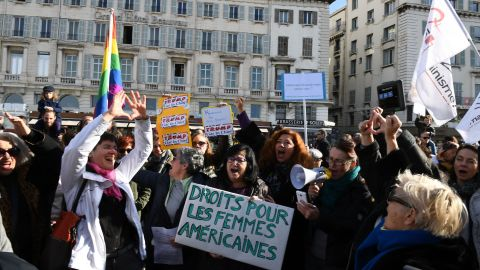 Protesters march in Marseille, France, in solidarity with women in Washington and around the world.