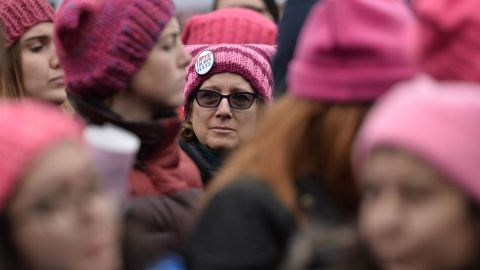 """The pink """"pussyhat"""" with cat ears became the symbol the the Woman's March on Washington as a reference to President Donald Trump's remarks about grabbing women by their genitalia during the election."""