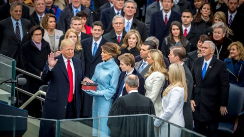 President-elect Donald Trump takes the oath of office to become President of the United States during his Inauguration on the West Front of the US Capitol in Washington, DC.20170120 (Photo by Mary F. Calvert )