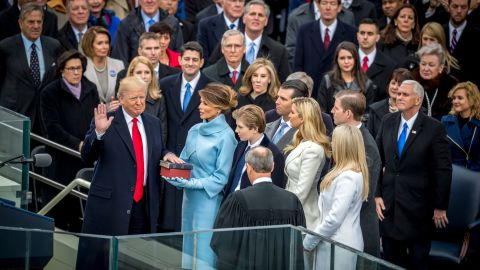 """Donald Trump is sworn in as the 45th President of the United States during <a href=""""http://www.cnn.com/2017/01/20/politics/donald-trump-inauguration-highlights/"""" target=""""_blank"""">his inauguration ceremony</a> on Friday, January 20. Trump's wife, Melania, is holding a family Bible and a Bible that belonged to former President Abraham Lincoln. Next to Melania, from left, are Trump's children: Barron, Donald Jr., Ivanka, Tiffany and Eric."""