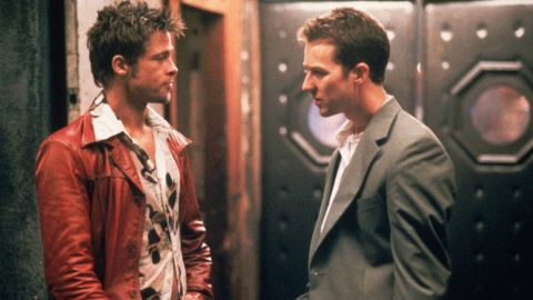 "Brad Pitt, left, is Edward Norton's alternate personality, Tyler Durden, who launches a destructive anarchist organization in ""Fight Club."""