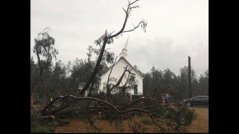 Trees fell and damaged the steeple of Zoar United Methodist Church near Baxley on January 22.