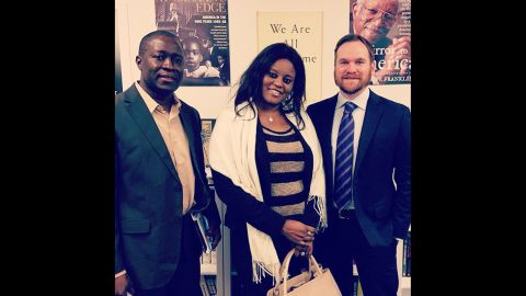 Jeffrey Smith (right) with Fatu Camara (Jammeh's former press secretary) and Amadou Janneh (a former Gambian government minister). Both were sentenced to prison in Gambia and now live in the US where they are involved in the Gambian advocacy community.