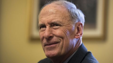 WASHINGTON, DC - JANUARY 23: Former Senator Dan Coats, President-elect Donald Trump's nominee for Director of National Intelligence, looks on during a photo opportunity in the office of Senate Majority Leader Mitch McConnell (R-KY) before their meeting on Capitol Hill, January 21, 2017 in Washington, DC. Coats stated last week that cybersecurity and cyber attacks will be among his chief concerns. (Photo by Drew Angerer/Getty Images)