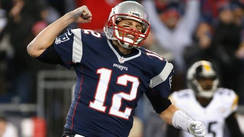 Tom Brady of the New England Patriots reacts during the third quarter against the Pittsburgh Steelers in the AFC Championship Game at Gillette Stadium on January 22, 2017 in Foxboro, Massachusetts.
