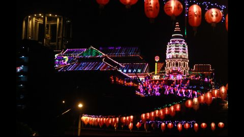 The Kek Lok Si Temple in Penang, Malaysia, displays more than 10,000 lights on Monday, January 23.