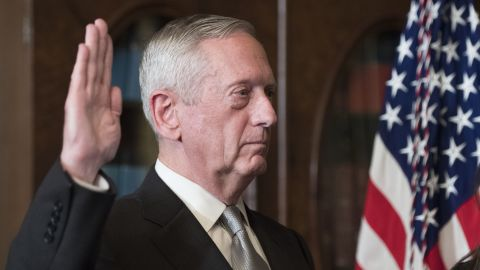 """Retired Marine Gen. James Mattis, President Trump's pick for defense secretary, is sworn in <a href=""""http://www.cnn.com/2017/01/20/politics/senate-trump-cabinet-confirmations/"""" target=""""_blank"""">after being confirmed by a 98-1 vote</a> on Friday, January 20."""