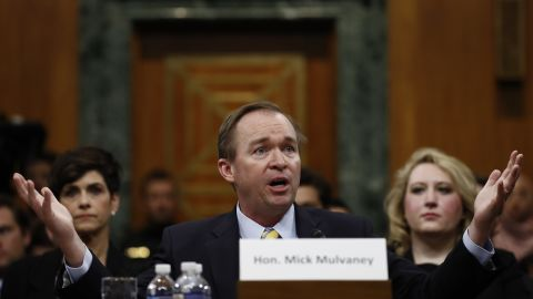 """Mulvaney testifies before the Senate Budget Committee in January. He <a href=""""http://www.cnn.com/2017/01/24/politics/mick-mulvaney-hearings-omb/"""" target=""""_blank"""">didn't back off his views</a> that entitlement programs need revamping to survive -- and he didn't back away from some of his past statements on the matter. President Donald Trump, during his campaign, pledged not to touch Social Security or Medicare."""