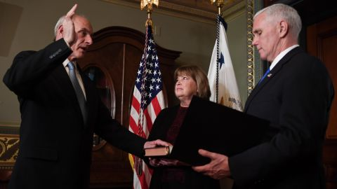 US Vice President President Mike Pence (R) swears in General John Kelly (L) as US Secretary of Homeland Security on Jan. 20, 2017.