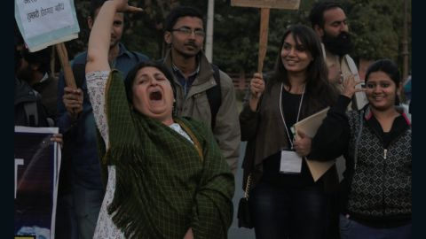Long-time activist, Nisha Sidhu, leads the younger protesters in a chant, at Jaipur's #IWillGoOut march.
