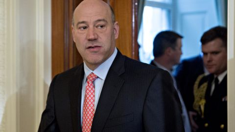 """WASHINGTON, DC - JANUARY 22: Gary Cohn, director of the U.S. National Economic Council, arrives to a swearing in ceremony of White House senior staff in the East Room of the White House on January 22, 2017 in Washington, DC. Trump today mocked protesters who gathered for large demonstrations across the U.S. and the world on Saturday to signal discontent with his leadership, but later offered a more conciliatory tone, saying he recognized such marches as a """"hallmark of our democracy."""" (Photo by Andrew Harrer-Pool/Getty Images)"""