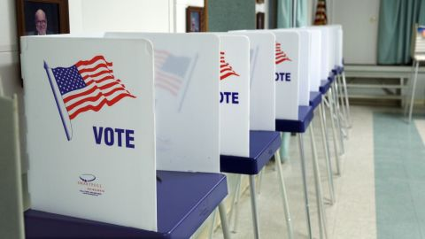 Voting booths set up inside a polling station in Christmas, Florida, on November 8, 2016.
