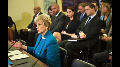 McMahon speaks during her confirmation hearing. She stepped down from her WWE duties in 2009 and ran for the Senate in 2010 and 2012.