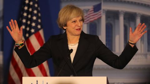British Prime Minister Theresa May speaks at the Congress of Tomorrow Republican Member Retreat at the Loews Philadelphia Hotel on January 26, 2017.