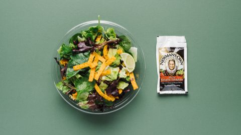 There's not a lot to choose from at McDonald's if you are vegan, but the Southwest salad without chicken or cheese will give you a fiber boost, and the tortilla chips offer a bit of crunch.
