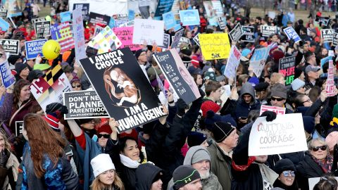 Thousands of people rally on the National Mall before the start of the 44th annual March for Life January 27, 2017, in Washington, DC. The march is a gathering and protest against the United States Supreme Court's 1973 Roe v. Wade decision legalizing abortion.  (Photo by Chip Somodevilla/Getty Images)