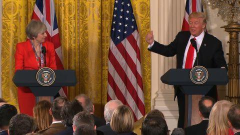 UK PM Theresa May and President Trump at a press conference
