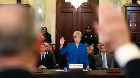 """Linda McMahon, former CEO of World Wrestling Entertainment, is sworn in during her Senate confirmation hearing on Tuesday, January 24. She has been <a href=""""http://www.cnn.com/2016/12/07/politics/linda-mcmahon-picked-to-be-small-business-administrator/"""" target=""""_blank"""">chosen by Trump</a> to lead the Small Business Administration."""