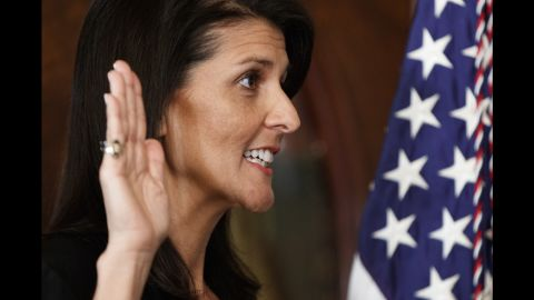 """South Carolina Gov. Nikki Haley takes the oath of office as she becomes the US Ambassador to the United Nations on Wednesday, January 25. <a href=""""http://www.cnn.com/2017/01/24/politics/nikki-haley-confirmation-vote-un-ambassador/"""" target=""""_blank"""">She was approved</a> with wide bipartisan support, 96-4. <a href=""""http://www.cnn.com/2017/01/10/politics/gallery/trump-cabinet-confirmation-hearings/index.html"""" target=""""_blank"""">See all of Trump's nominees</a>"""