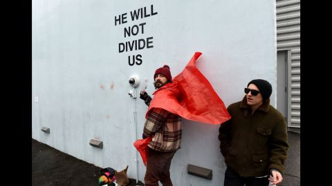 """Actor and performance artist Shia LaBeouf live-streams his Trump protest in New York on Tuesday, January 24. He was charged with misdemeanor assault and a harassment violation <a href=""""http://www.cnn.com/2017/01/26/entertainment/shia-labeouf-arrested-trump-rally/index.html"""" target=""""_blank"""">after getting in a scuffle</a> with an anti-Trump protester."""