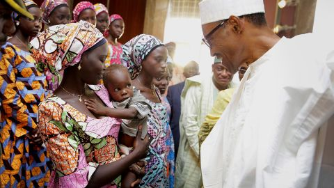 President Muhammadu Buhari in meets with some of the 21 Chibok school girls during their visit to the Presidential villa in  Abuja Nigeria Oct 19, 2016 (Photo by next24online/NurPhoto via Getty Images)