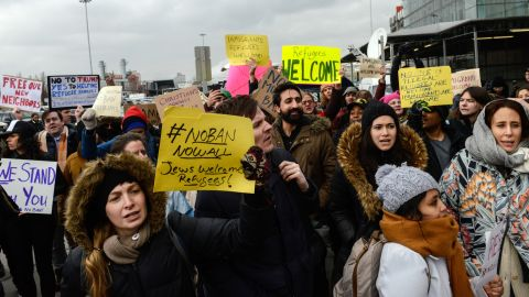 Protestors rally against the Muslim immigration ban at John F. Kennedy International Airport on January 28, 2017 in New York City. President Trump singed the controversial executive order that halted refugees and residents from predominantly Muslim countries from entering the United States.