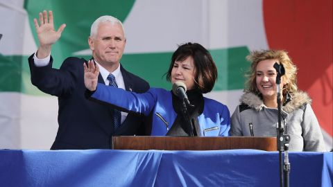 """US Vice President Mike Pence, his wife Karen Pence and their daughter Charlotte Pence arrive for a rally on the National Mall before the start of the <a href=""""http://www.cnn.com/2017/01/27/politics/trump-march-for-life-call/index.html"""" target=""""_blank"""">44th annual March for Life</a>, Friday, January 27 in Washington."""
