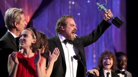 LOS ANGELES, CA - JANUARY 29: (L-R) Actors Millie Bobby Brown, Matthew Modine, David Harbour, Gaten Matarazzo and  Caleb McLaughlin, accepting the award for Ensemble in a Drama Series, during The 23rd Annual Screen Actors Guild Awards at The Shrine Auditorium on January 29, 2017 in Los Angeles, California. 26592_012  (Photo by Christopher Polk/Getty Images for TNT)