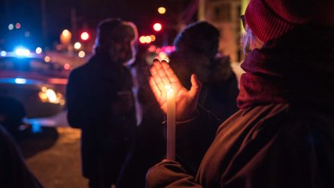 People come to show their support after a shooting occurred in a mosque at the Québec City Islamic cultural center on Sainte-Foy Street in Quebec city on January 29, 2017.Two arrests have been made after five people were reportedly shot dead in an attack on a mosque in Québec City, Canada.  / AFP / Alice Chiche        (Photo credit should read ALICE CHICHE/AFP/Getty Images)