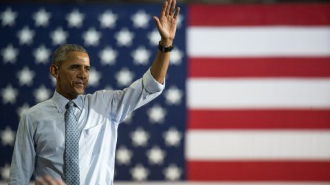 President Barack Obama waves to the crowd after speaking during a campaign event for Hillary Clinton at Capital University on November 1, 2016 in Columbus, Ohio.