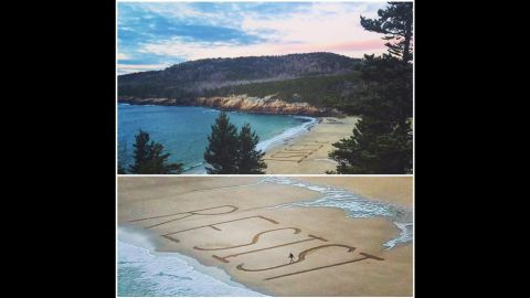 """Gary Allen's photos of the words """"resist"""" on a beach in Maine went viral."""