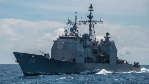 160306-N-MJ645-032 SOUTH CHINA SEA -- (Mar. 06, 2016) - The Ticonderoga-class  guided-missile cruiser USS Antietam (CG 54) sails alongside the guided-missile destroyer USS Chung-Hoon (DDG 93). Antietam is underway in the 7th Fleet area of operations in support of security and stability in the Indo-Asia-Pacific. (U.S. Navy photo by Mass Communication Specialist 2nd Class Marcus L. Stanley/Released)