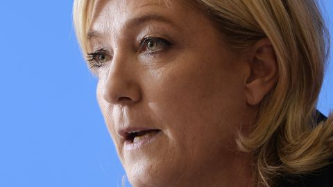 Head of the French far-right Front National (FN) party, Marine Le Pen gives a press conference at the FN headquarters in Nanterre on February 6, 2015. AFP PHOTO / MIGUEL MEDINA        (Photo credit should read MIGUEL MEDINA/AFP/Getty Images)