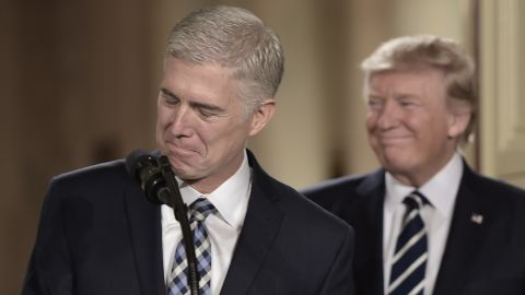 Judge Neil Gorsuch (L) speaks, after US President Donald Trump nominated him for the Supreme Court, at the White House in Washington, DC, on January 31, 2017.President Donald Trump on nominated federal appellate judge Neil Gorsuch as his Supreme Court nominee, tilting the balance of the court back in the conservatives' favor. / AFP / Brendan SMIALOWSKI        (Photo credit should read BRENDAN SMIALOWSKI/AFP/Getty Images)