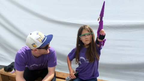 Jordan upgraded her glitter shooter, called Project Unicorn, with the help of her design partner, Sam Hobish, in 2016.