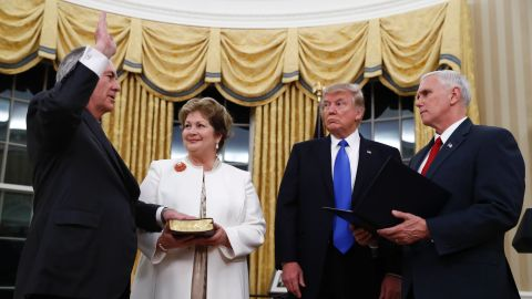 """Trump watches as Pence swears in Rex Tillerson as secretary of state on Wednesday, February 1. Tillerson's wife, Renda St. Clair, holds the Bible. Tillerson, a former CEO of ExxonMobil, was <a href=""""http://www.cnn.com/2017/02/01/politics/tillerson-confirmation-vote-senate/"""" target=""""_blank"""">confirmed in the Senate </a>by a vote of 56 to 43."""