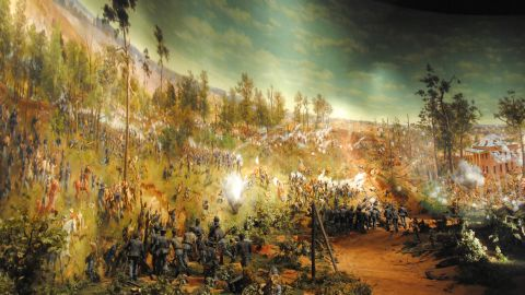 The painting, with an accompanying diorama, show the Battle of Atlanta on July 22, 1864. This is the painting at its now-closed Grant Park home.