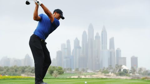 Woods carded a five-over par round of 77 on the opening day of the European Tour's Dubai Desert Classic Thursday.