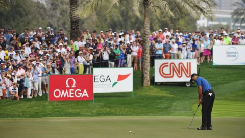 Woods' once-legendary touch on the greens eluded him at the Emirates Golf Club.