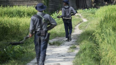 Armed police conduct search operations at Warpait village in Maungdaw, located in Rakhine State, on October 14, 2016 as the government announced that terror groups were behind the series of attacks.