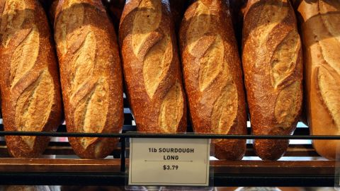 SAN FRANCISCO - APRIL 21:  Freshly baked loaves of sourdough bread are displayed at Boudin Bakery April 21, 2008 in San Francisco, California. Boudin, the oldest continuously operating business in San Francisco and the original Sourdough French bread maker is being forced to raise prices on its popular sourdough bread as the cost of flour has nearly tripled in the past year due to high wheat prices caused by strong worldwide demand and increased price speculation.  (Photo by Justin Sullivan/Getty Images)