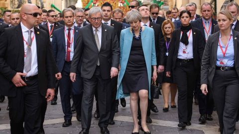 President of the European Union Jean-Claude Juncker, center left, and British Prime Minister Theresa May at the Malta summit.