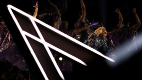 Gaga performs on stage.