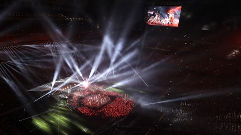 The stage is seen from above as Gaga performs.