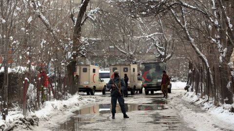Security forces stand guard at the site of a attack near the Supreme Court in Kabul, Afghanistan, Tuesday, Feb. 7, 2017.