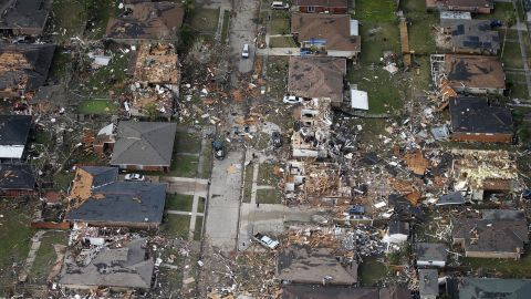 An aerial view of destroyed and damaged homes.